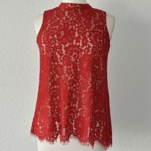 Rose + Olive red lace tunic shell or top small